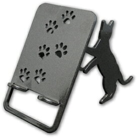 【スマホスタンド】【送料無料】猫 おしゃれ 立ち猫 (ワンピースタイプ)の立ったネコちゃんがスマホ・iPhoneを支えます。鉄製で安定感があり、スマートフォン アイフォン アンドロイド アイパッドも大丈夫!