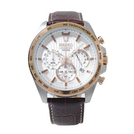 セイコー SEIKO 腕時計 クオーツ クロノグラフ 100M防水 ホワイト文字盤 カーフレザー SSB306P1 メンズ [逆輸入品]