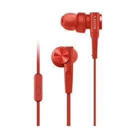 【SONY】 MDR-XB55AP RED レッド カナル型 イヤホン EXTRA BASS 重低音モデル リモコン・マイク付き ソニー メーカー1年間保証 【海外仕様】