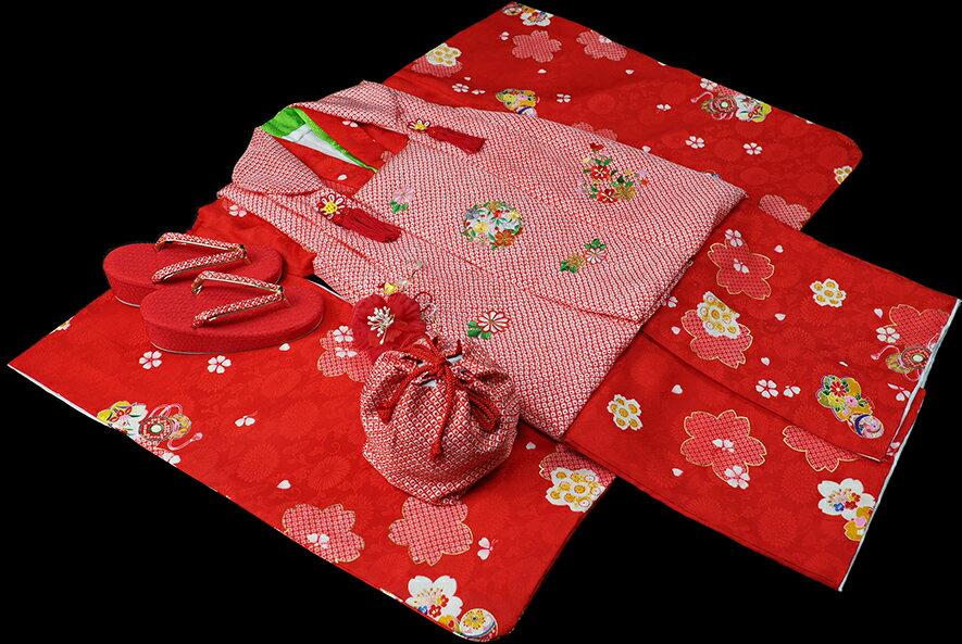 七五三 着物 3歳 女の子 着物 被布セット 正絹 新品73j283