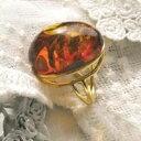 【天然琥珀】琥珀こはくのゴールドリング・指輪【Sランク】【ak0925】【K18ゴールドヴェルメイユ】【アンバー】【送料無料】