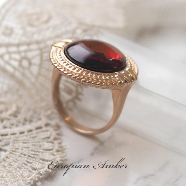 【天然琥珀】ピンクゴールドリング・指輪 こはくアクセサリー【ak0408】【Sランク】【K18ピンクゴールドヴェルメイユ】【アンバー】【天然石・パワーストーン】ギフト 贈り物に プレゼントに ジュエリー【送料無料】