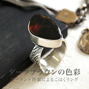 【天然琥珀】1点ものハンドメイド シルバーリング【送料無料】【tr1182】【5ツ星】 天然石 パワーストーン お守り 魔よけ amber 指輪 アクセサリー 母の日 贈り物 メンズ
