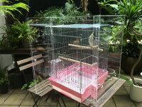 【プレミアム】アクリルバードケージ[スリムタイプ]W400×H430×D450[オウム・鳥・小動物用アクリルケージ]アクリルケース国産透明アクリル板製作/防音・防塵・保温に