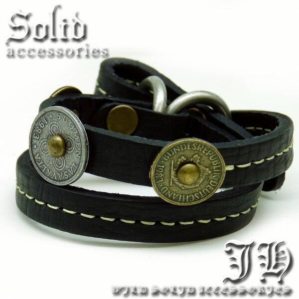 【b910】 本革ブレスレット 2連レザー コインtopベルト式ブレス 黒 ブラック ゴールド シルバーに重ね付けもお勧め【あす楽対応】