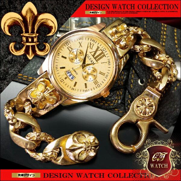 【 送料無料 】 ブレスレット 腕時計 メンズ 時計 ブレスウォッチ ブレスレットウォッチ ローマ数字 ゴールド cr プレゼント ギフト 男性 誕生日 アクセone 【ct107】【あす楽対応】