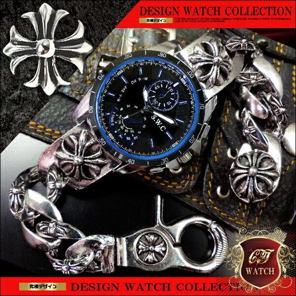 【 送料無料 】 ブレスレット 腕時計 メンズ 時計 ブレスウォッチ ブレスレットウォッチ クロス 十字架 シルバー cr 黒 ブラック 青 ブルー プレゼント ギフト 男性 誕生日 アクセone クロノグラフ デザイン 【ct112】【あす楽対応】