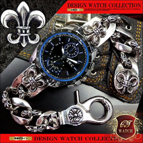 【 送料無料 】 ブレスレット 腕時計 メンズ 時計 ブレスウォッチ ブレスレットウォッチ 百合の紋章 シルバー cr 黒 ブラック 青 ブルー プレゼント ギフト 男性 誕生日 アクセone クロノグラフ デザイン 【ct114】【あす楽対応】