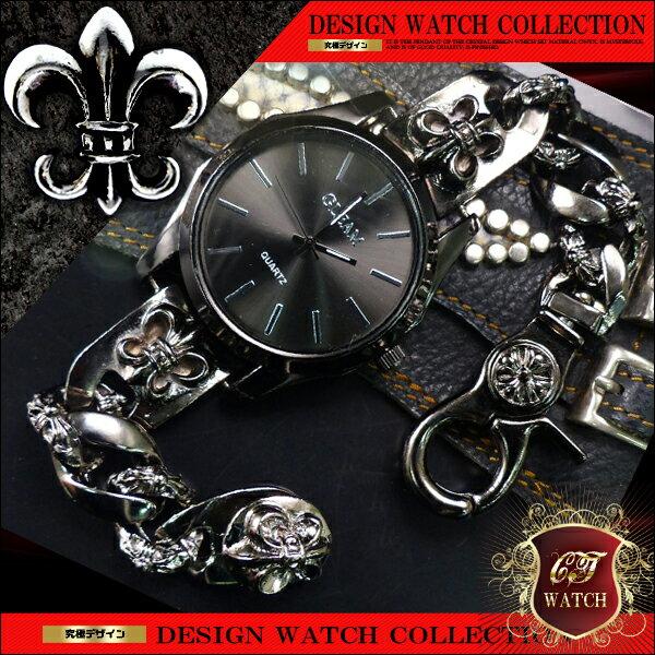 【 送料無料 】 ブレスレット 腕時計 メンズ 時計 ブレスウォッチ ブレスレットウォッチ 百合の紋章 ガンメタ cr 黒 ブラック プレゼント ギフト 男性 誕生日 アクセone 【ct124】【あす楽対応】