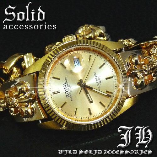 【ct42】送料無料 超重量級 24金ctゴールドブレスウォッチ腕時計 hiphop b系 ブレスレットウォッチ メンズ ブレスレット 時計 かっこいい 男性 プレゼント ゴールド cr クロス 十字架 オラオラ系