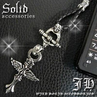 【st29】超新型ストラップ登場 ウイングクロス十字架デザイン スカル シルバー best