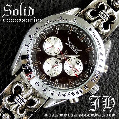 送料無料 希少レア物 クロノグラフデザイン腕時計 ブレスウォッチ ブレスレットウォッチ メンズ ブレスレット 時計 かっこいい 男性 プレゼント シルバー cr 【ct47】【あす楽対応】