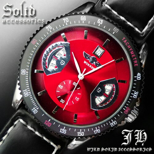 【t124】今だけ 送料無料 新型 3針自動巻き 防水腕時計&このデザインで3960円はありえません オートマティックウォッチ 赤【あす楽対応】 腕時計 メンズ腕時計 プレゼント クリスマス 通販 楽天