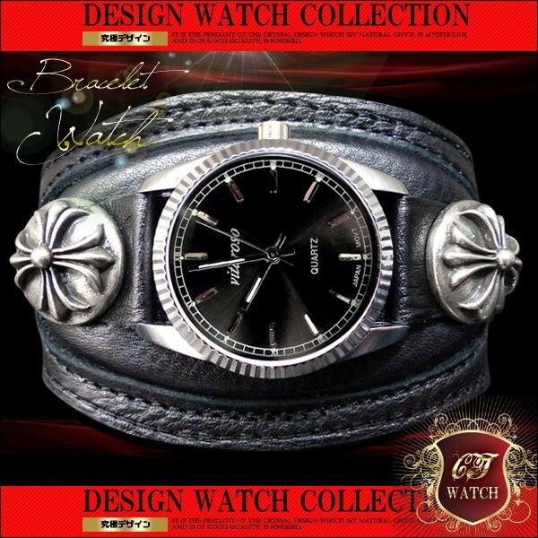 ct11 攻撃力120%ブレスウォッチ 防水腕時計 ブレスレットウォッチ メンズ ブレスレット 時計 かっこいい 男性 プレゼント 黒 ブラック フェイク レザー バングル ウォッチ 【あす楽 】 アクセone 腕時計 メンズ腕時計 通販 楽天