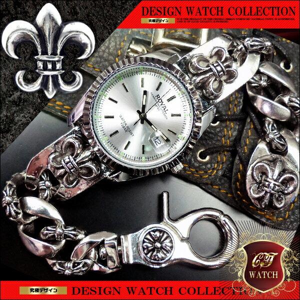 フレア シルバー cr ブレスレット 時計 日付 メンズ 銀 色 ブレスウォッチ ブレスレットウォッチ 百合の紋章 アクセone 【ct131】【あす楽対応】