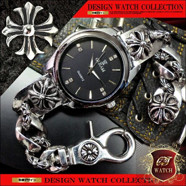 クロス シルバー cr ブレスレットウォッチ ブレスレット 時計 メンズ 銀 色 ブラック 黒 ブレスウォッチ 十字架 アクセone 【ct132】【あす楽対応】