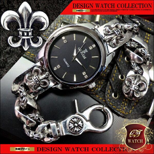 フレア シルバー cr ブレスレットウォッチ ブレスレット 時計 メンズ 銀 色 ブラック 黒 ブレスウォッチ 百合の紋章 アクセone 【ct133】【あす楽対応】