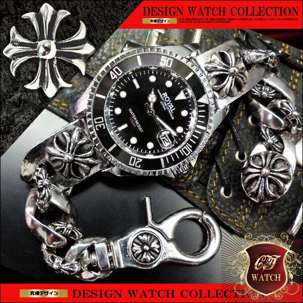 クロス シルバー cr ブレスレットウォッチ ブレスレット 時計 メンズ 銀 色 ブラック 黒 ブレスウォッチ 十字架 アクセone 【ct138】【あす楽対応】