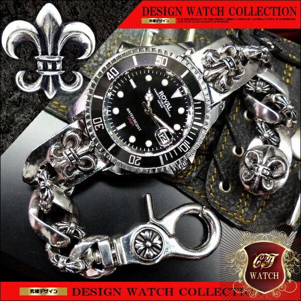 フレア シルバー cr ブレスレットウォッチ ブレスレット 時計 メンズ 銀 色 ブラック 黒 ブレスウォッチ 百合の紋章 アクセone 【ct139】【あす楽対応】