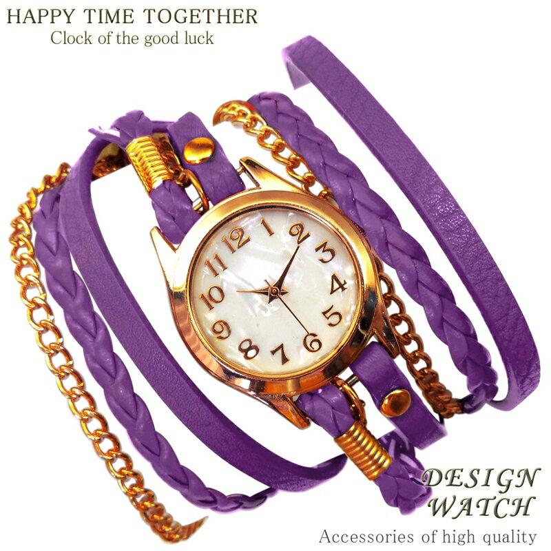 【全8種】 送料無料 パープル 紫 ブレスレットウォッチ チェーン ゴールドcr レディース ブレスレット 時計 ブレス時計 巻きブレス 【t280】【あす楽 】[0054]