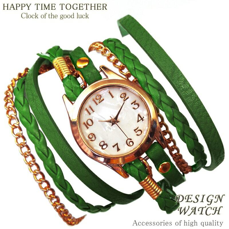 【全8種】 送料無料 グリーン 緑 ブレスレットウォッチ チェーン ゴールドcr レディース ブレスレット 時計 ブレス時計 巻きブレス 【t281】【あす楽 】[0054]