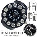 【新作 全21種】 リングウォッチ ブラック 黒 12粒 丸型 クロックリング 指輪時計 指時計 フリーサイズ 指輪 型 時計 …