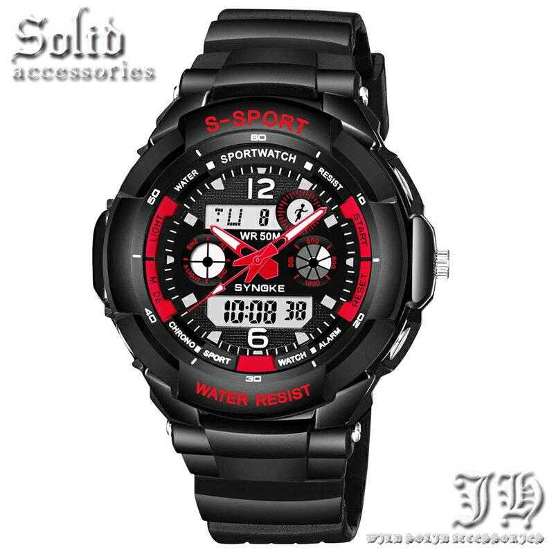 腕時計 アナログ デジタル メンズ 防水 50m 5気圧防水 ダイバーズウォッチ 防水腕時計 レッド 赤 ブラック 【t324】【あす楽対応】