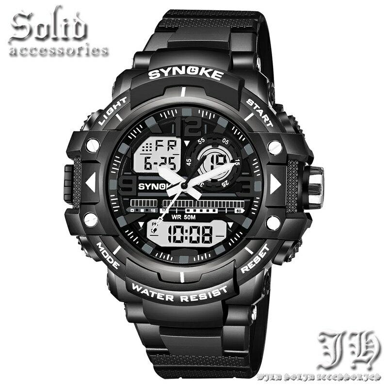 デジタル 防水腕時計 メンズ 腕時計 防水 50m 5気圧防水 ダイバーズウォッチ 黒 ブラック アナログ 【t329】【あす楽対応】