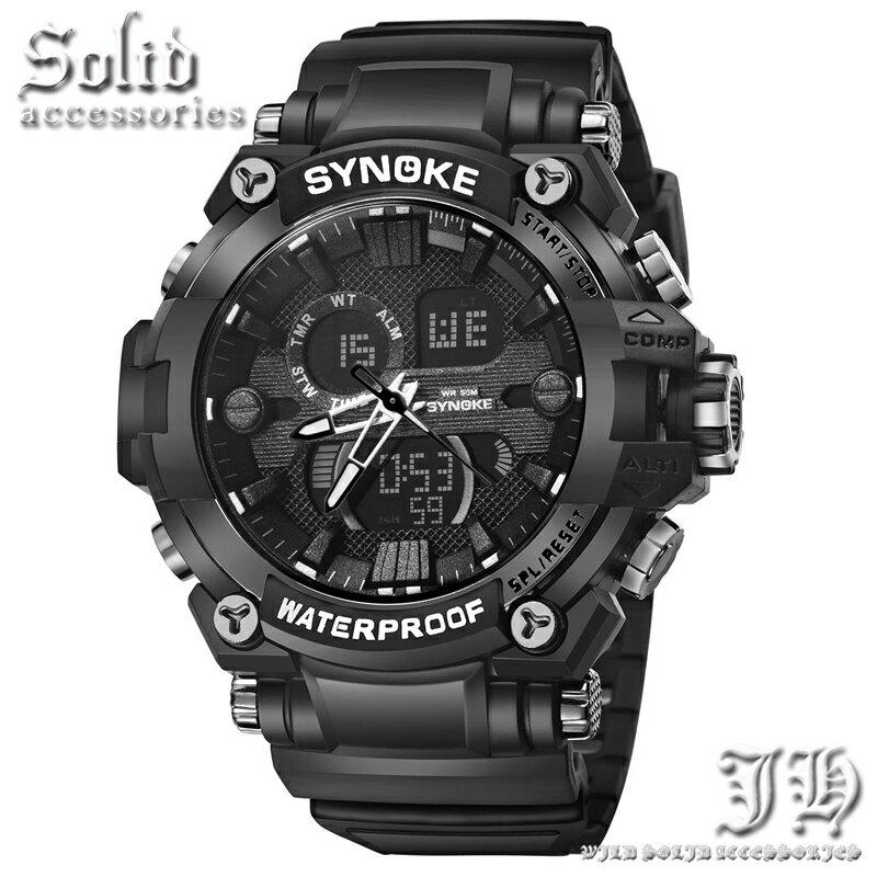 50m 5気圧防水 ダイバーズウォッチ 腕時計 メンズ 防水 黒 ブラック アナログ デジタル 防水腕時計 【t331】【あす楽対応】