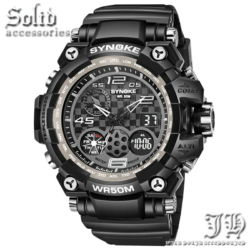 全15種 ダイバーズウォッチ グレー ブラック 腕時計 メンズ 防水 50m 5気圧防水 アナログ デジタル 防水腕時計 【t334】【あす楽対応】