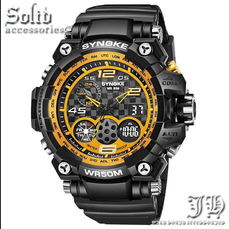 全15種 ゴールド cr ブラック 腕時計 メンズ 防水 50m 5気圧防水 ダイバーズウォッチ アナログ デジタル 防水腕時計 【t336】【あす楽対応】
