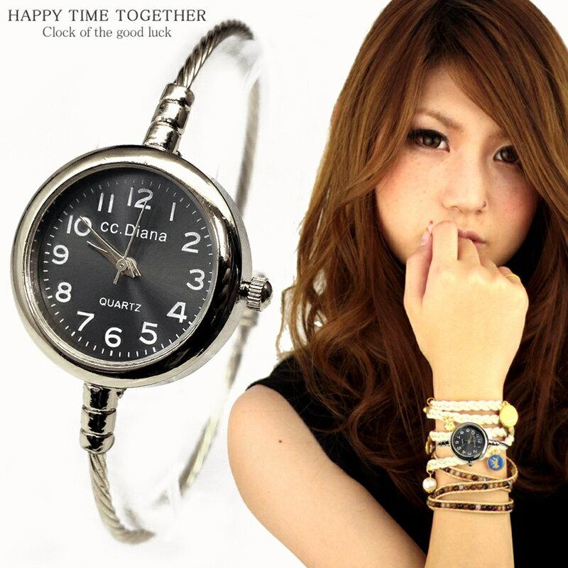 腕時計 レディース バングル シルバー cr ブラック 黒 シンプル おしゃれ 見やすい ブレスレット 時計 女性 生活 防水 【tvs341】【あす楽対応】