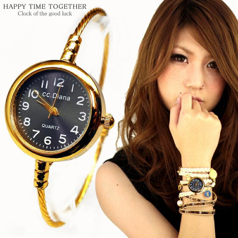 腕時計 バングル ウォッチ ゴールド cr ブラック 黒 シンプル おしゃれ 見やすい ブレスレット 時計 女性 生活 防水 【tvs342】【あす楽対応】