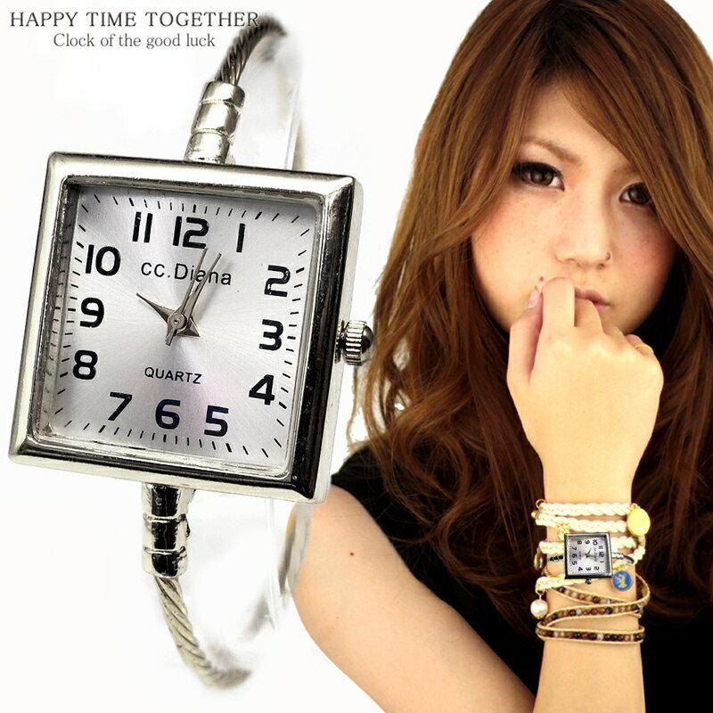 腕時計 レディース バングル 四角 スクエア シルバー cr シンプル おしゃれ 見やすい ブレスレット 時計 女性 生活 防水 【tvs343】【あす楽対応】