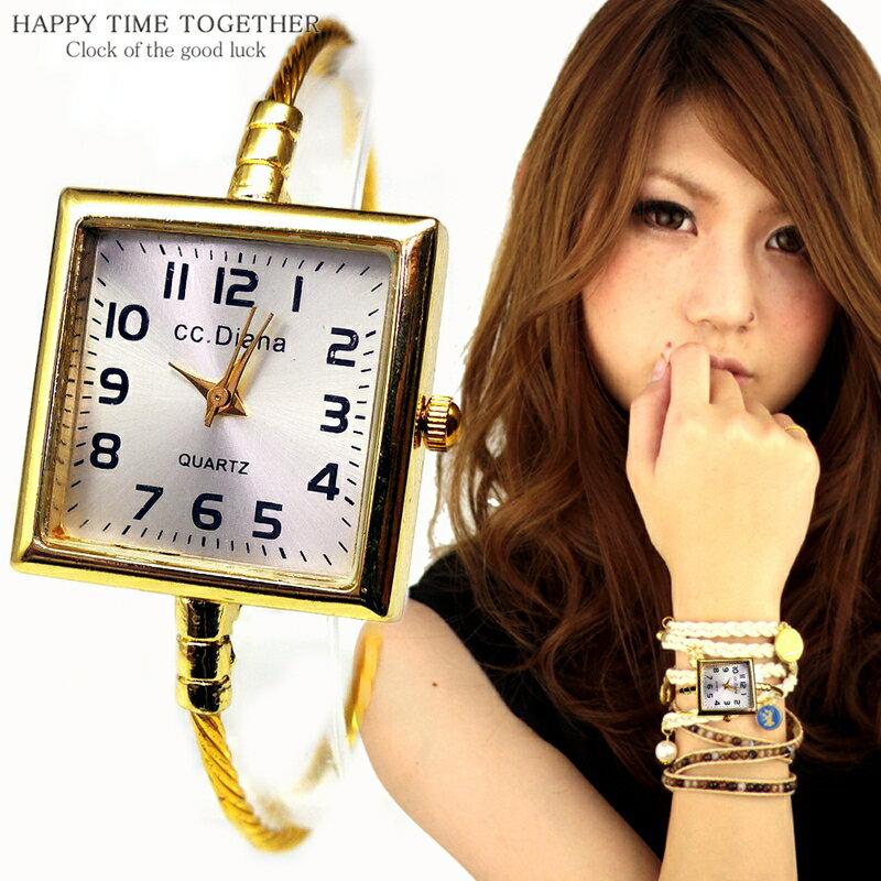 腕時計 バングル ウォッチ スクエア 四角 ゴールド cr シンプル おしゃれ 見やすい ブレスレット 時計 女性 生活 防水 【tvs344】【あす楽対応】