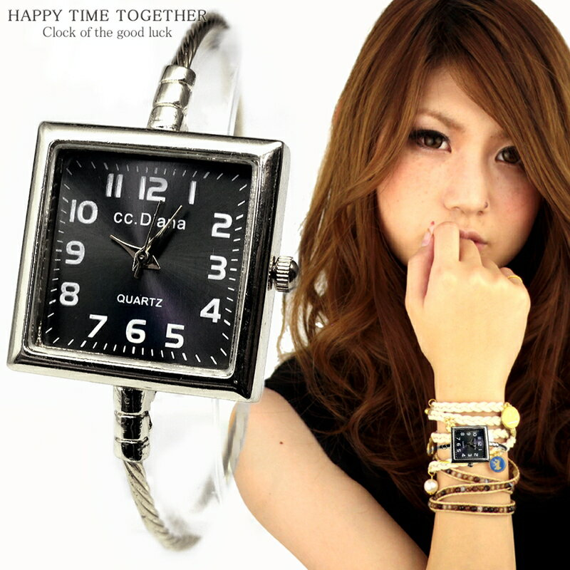 腕時計 レディース バングル シンプル おしゃれ 見やすい ブレスレット 時計 四角 スクエア シルバー cr 女性 生活 防水 【tvs345】【あす楽対応】