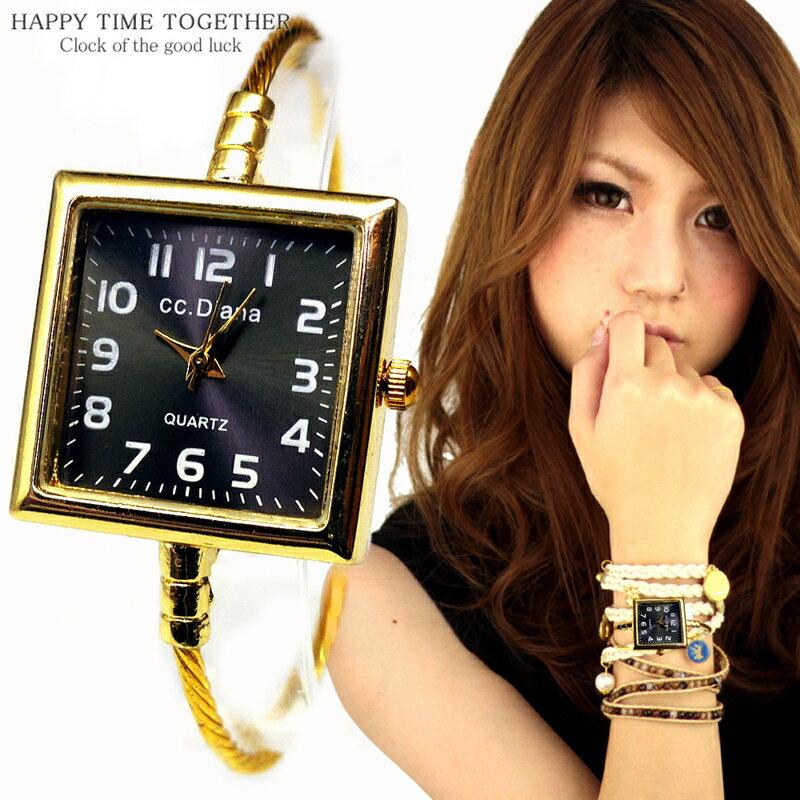 腕時計 バングル ウォッチ スクエア シンプル おしゃれ 見やすい ブレスレット 時計 女性 四角 ゴールド cr 生活 防水 【tvs346】【あす楽対応】
