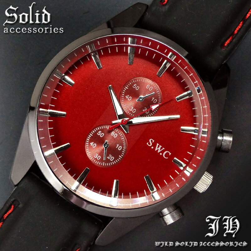 送料無料 腕時計 メンズ おしゃれ ラウンド レッド 赤 シンプル アナログ カラフル 時計【あす楽 】 メンズ 腕時計 アクセone 腕時計 メンズ 腕時計 通販 楽天 生活 防水 【あす楽対応】【tvs355】[0012]