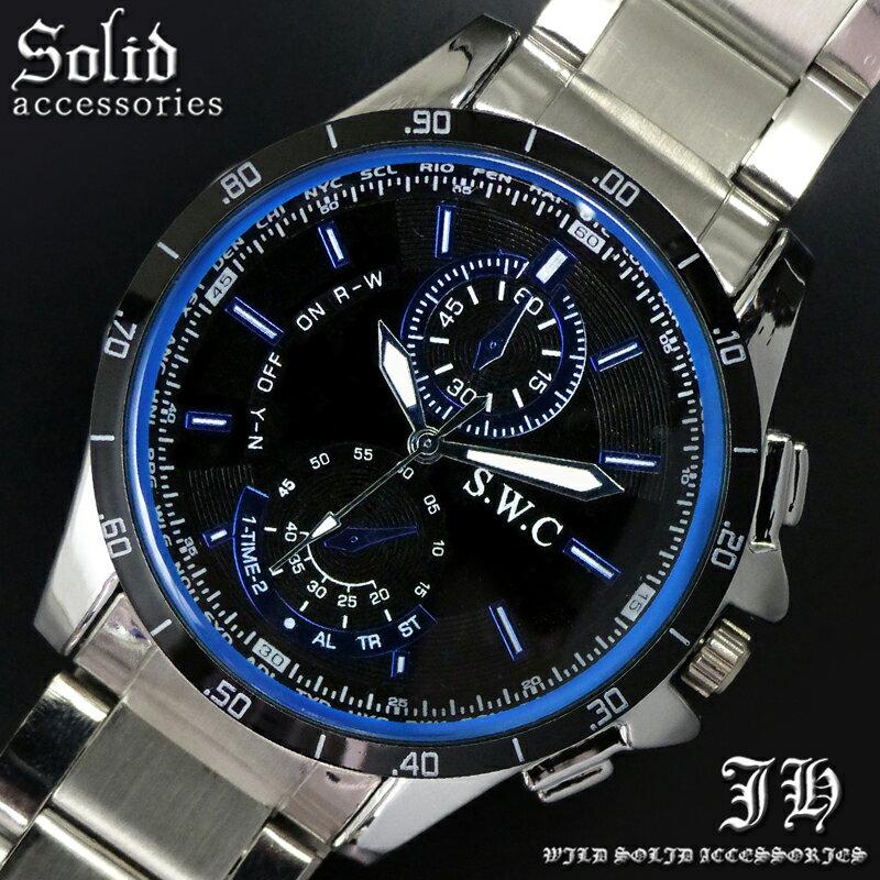 送料無料 腕時計 メンズ おしゃれ ラウンド ブラック 黒 ブルー 青 ベゼル アナログ カラフル 時計【あす楽 】 メンズ 腕時計 アクセone 腕時計 メンズ 腕時計 通販 楽天 【tvs362】[0012]