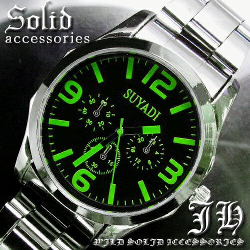 【tvs10】 送料無料 999円超お得 超人気メンズ腕時計 スタイリッシュなデザイン グリーン緑 メンズ【あす楽対応】