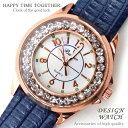 ★新作★送料無料!999円超お得!!★超人気レディース腕時計!!かわいいデザイン♪キュービックジルコニア/ネイビー青ブ…