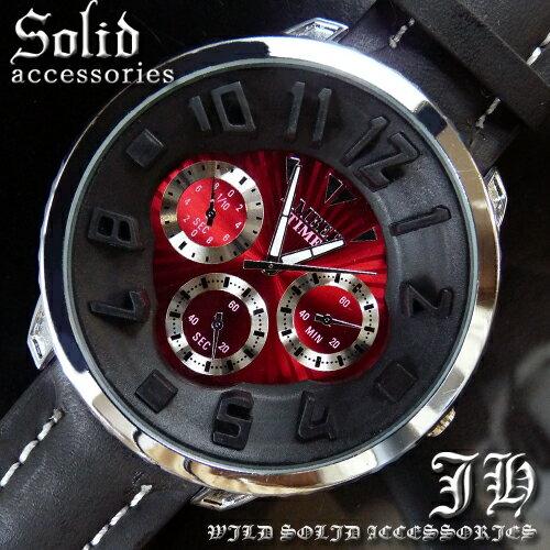 【tvs5】 送料無料 999円超お得 超人気メンズ腕時計 ビッグフェイス仕様 スタイリッシュなデザイン レッド赤 かっこいい 時計 メンズ 生活 防水 【あす楽対応】