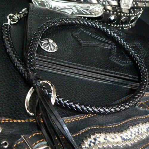 【wx4】ワイルド感UP 本革調で680円 絶対お得 ウォレットロープ レザー調 黒