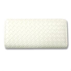 8417c1d011d0 財布 レディース 長財布 ラウンドファスナー 編み込み ホワイト 長サイフ ロングウォレット ウォレット シンプル かわいい 大