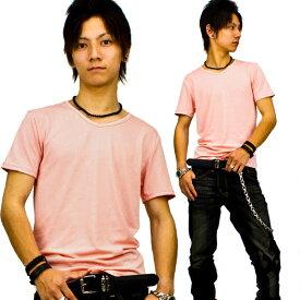 【f12】 送料無料 ピンク 全8色 伸縮素材で暖かフィット オフ使いも抜群のVネックtシャツ 第2ボタン開けでワル魅せ メンズ半袖 細 タイト s m L XL 2L 3L【あす楽対応】 夏 新作 夏服 夏物