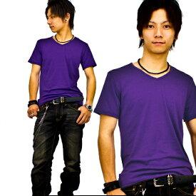 【f14】 パープル 全8色 伸縮素材で動きにフィット オフ使いも抜群のVネックtシャツ 第2ボタン開けでワル魅せ メンズ半袖 細 タイト s m L XL 2L 3L【あす楽対応】 夏 新作 夏服 夏物
