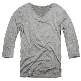 【f27】 送料無料 グレー 全11色 伸縮素材で動きにフィット オフ使いも抜群のVネックtシャツ 第2ボタン開けでワル魅せ メンズ七分袖 細 タイト s m L XL 2L 3L 夏 新作 夏服 夏物