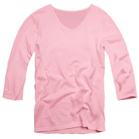 【f28】 ピンク 全11色 伸縮素材で暖かフィット オフ使いも抜群のVネックtシャツ 第2ボタン開けでワル魅せ メンズ七分袖 細 タイト s m L XL 2L 3L【あす楽対応】 夏 新作 夏服 夏物