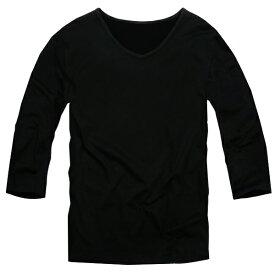 【f29】 送料無料 ブラック 全11色 伸縮素材で動きにフィット オフ使いも抜群のVネックtシャツ 第2ボタン開けでワル魅せ メンズ七分袖 細 タイト s m L XL 2L 3L 夏 新作 夏服 夏物