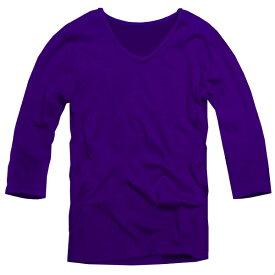 【f30】 パープル 全11色 伸縮素材で暖かフィット オフ使いも抜群のVネックtシャツ 第2ボタン開けでワル魅せ メンズ七分袖 細 タイト s m L XL 2L 3L【あす楽対応】 夏 新作 夏服 夏物